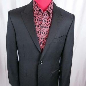 Versace Peak Lapel Herringbone Blazer Black 50/40